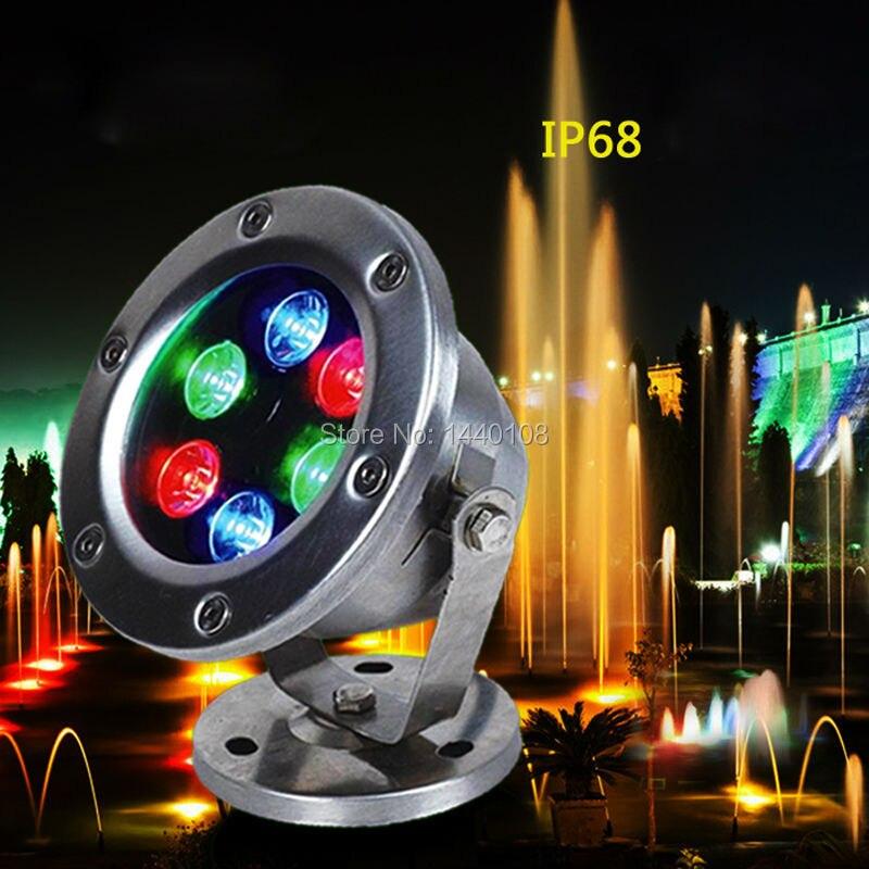 20pcs/lot RGB LED Pool Light IP68 DC12V/24v 6W Stainless Steel LED Underwater Light Swimming Pool Led for Fountain