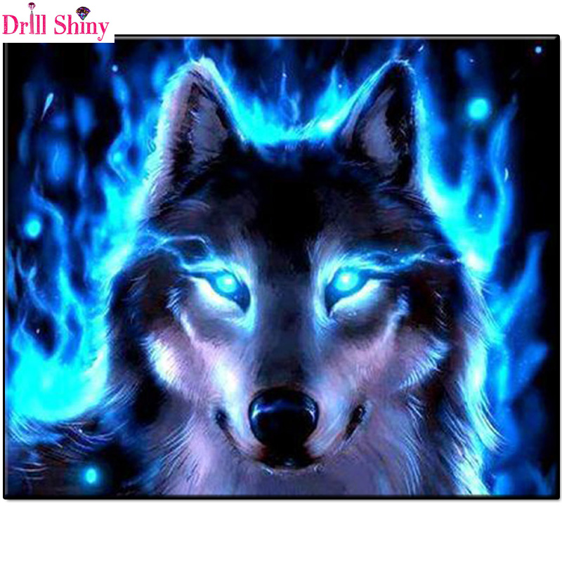 Drill Shiny Blue Eyes Wolf Full Square Resin Diamond Painting Crafts Wall Sticker Handmade Needlework Diamond Embroidery Gifts