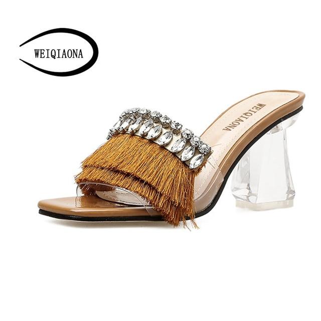 WEIQIAONA 2018 Casual Women Shoes Summer PU Frings Sandals Fashion  Rhinestones Ladies Sexy Peep Toe High 62616f830adf