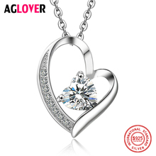 925 Sterling Silver Heart Necklace AAA Crystal Women Charm Love Pendant Necklace Fine Jewelry