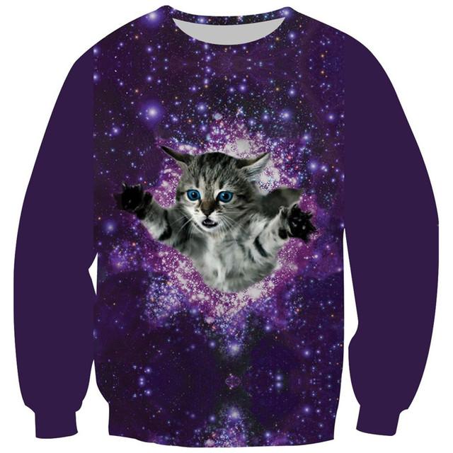 2017 crianças camisola 3d galaxy gato crânio putin animal print hoodies da menina do menino crianças casual tops bordado velo roupas dentro