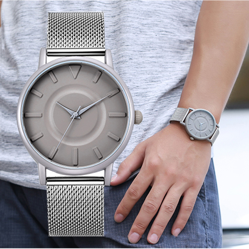 Top Luxury Brand Men Full Stainless Steel Mesh Strap Business Watches Men's Quartz Date Clock Men Wrist Watch relogio masculino migeer relogio masculino luxury business wrist watches men top brand roman numerals stainless steel quartz watch mens clock zer