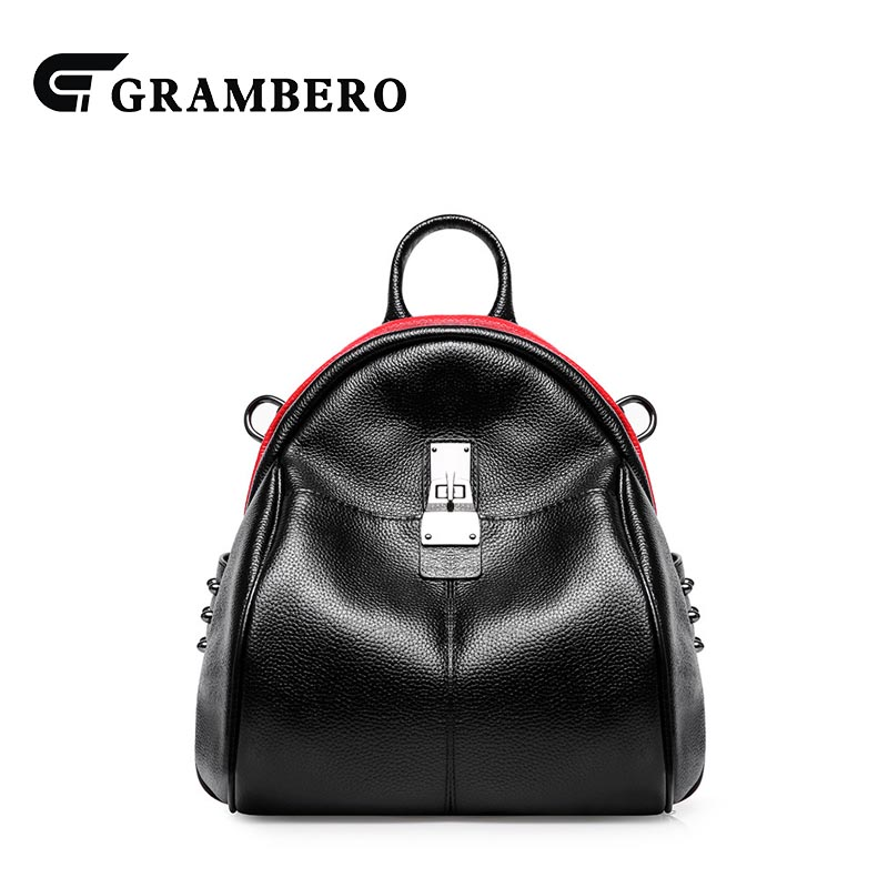 Preppy Style Soft Genuine Leather Solid Color Backpack Zipper Rivets Cow Leather Student School Bag for Birthday Gifts Women Bag 2018 new style soft genuine leather zipper backpack black color cow leather women fashion bag for party sent friends school bags