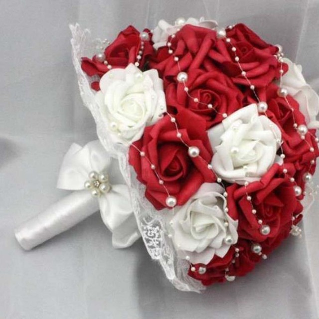 Beautiful artificial red wedding flowers bridal bouquets pearls beautiful artificial red wedding flowers bridal bouquets pearls flower rose bouquet mightylinksfo