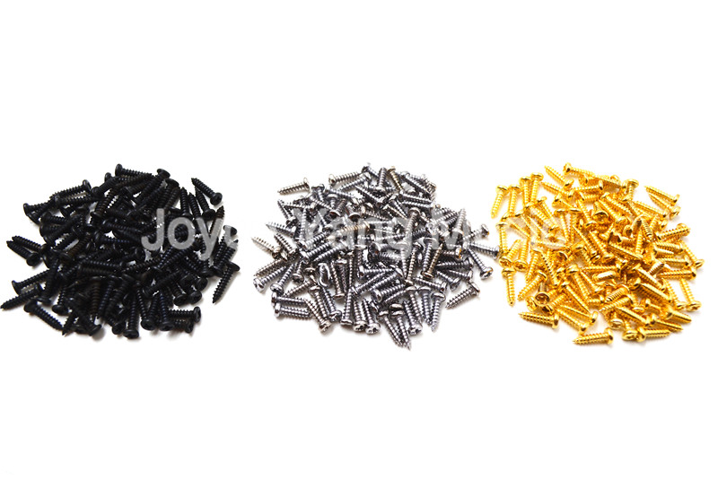 100pcs Chrome/Black/Gold Guitar Screws 2.1*10mm For Guitar Bass Machine Head Tuner Tuning Pegs chrome oval indented 1 4 guitar pickup output input jack socket contains 2 mounting screws for bass guitar