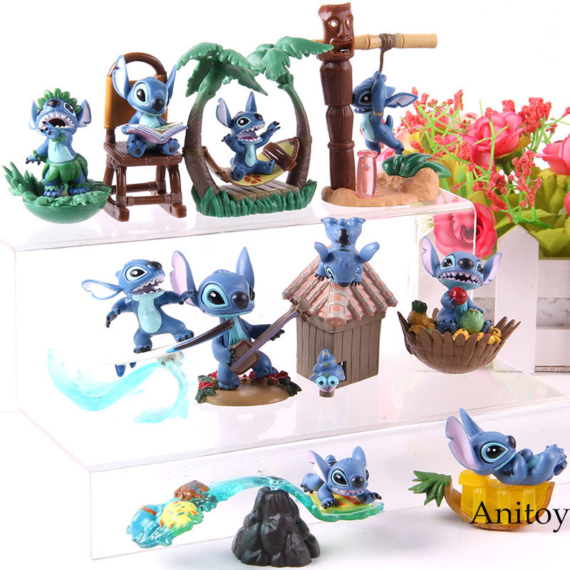 Cartoon Lilo Stitch PVC Collectible Model Doll Lilo & Stitch Action Figures Toys Gifts For Kids 5pcs/set