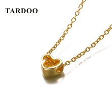 Tardoo Heart 925 Sterling Silver Choker Necklace Gold-plated Simple and Romantic Fine Jewelry Valentine's Gift for Women