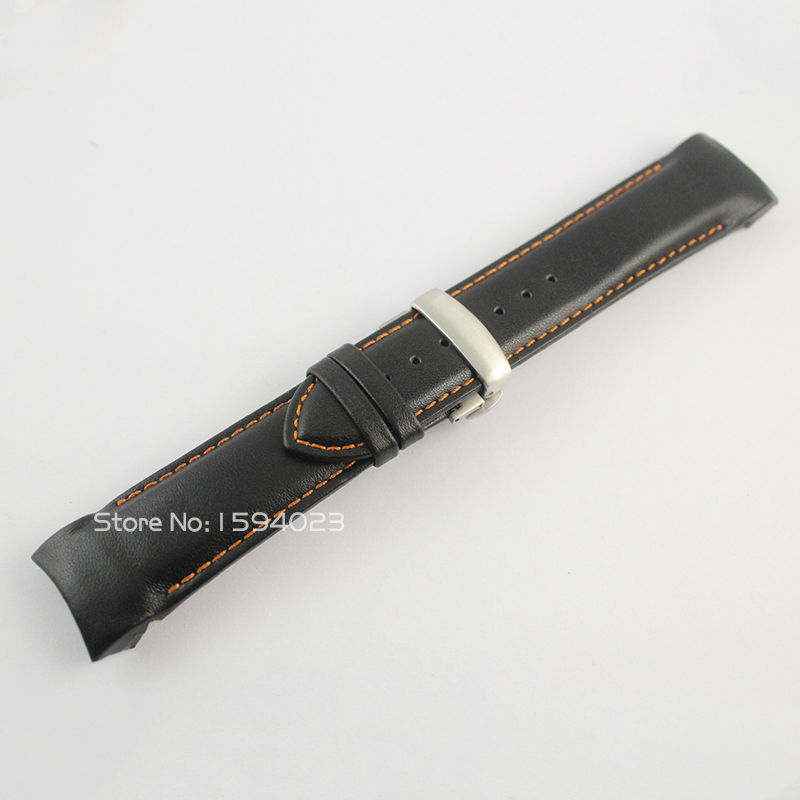 24mm Buckle 22mm T035627 T035614 Silver Butterfly Buckle Orange Stitched Black Smooth Genuine Leather Watchband For