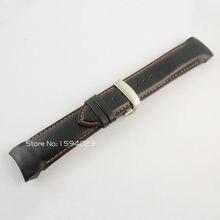 24mm (Boucle 22mm) T035627/T035614 Argent Papillon Boucle Orange Piqué Noir Lisse Véritable Bracelet En Cuir pour T035 Bretelles