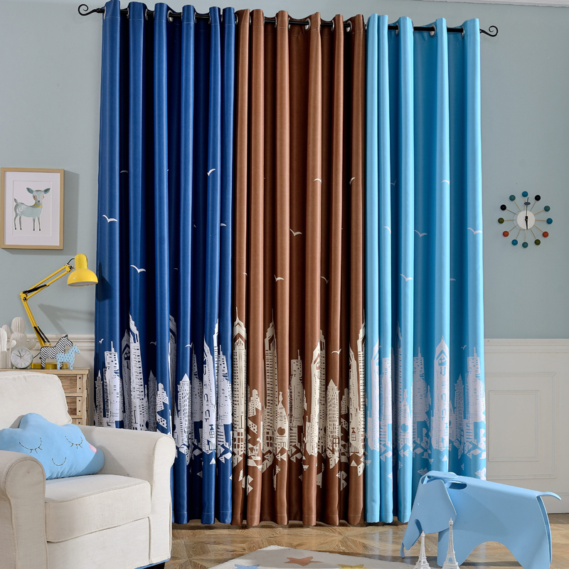 Water castle blackout curtains tulle curtains for kids for Blackout curtains for kids rooms