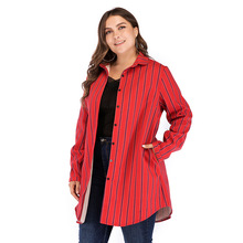 Autumn Winter New Striped Fleece Female Coat Single Breasted Long Trench Casual Windbreaker Outwear Jaqueta Corta-vento