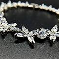 Charming Bride Flower Jewelry Bracelets for Wedding Women Gift Romantic Clear White Golden Cubic Zircon