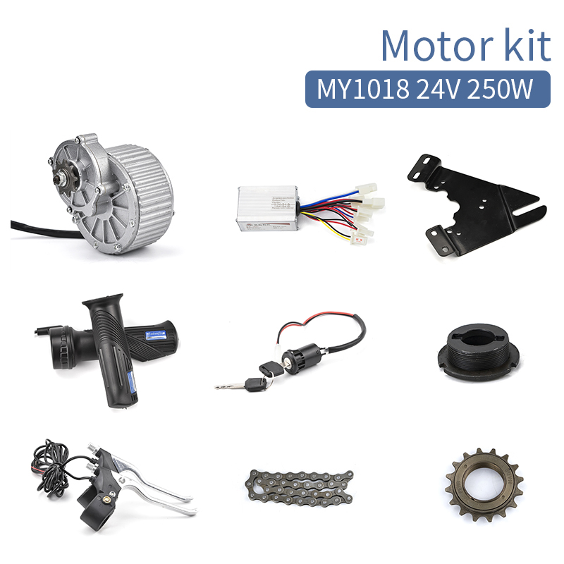 E scooter conversion kit 250W 24V MY1018 DC Brush Motor Electric bike bicycle E tricycle Brushed DC Motor DIY Kiti hot sale my1020 500w 24v electric scooter motors dc gear brushed motor electric bike conversion kit