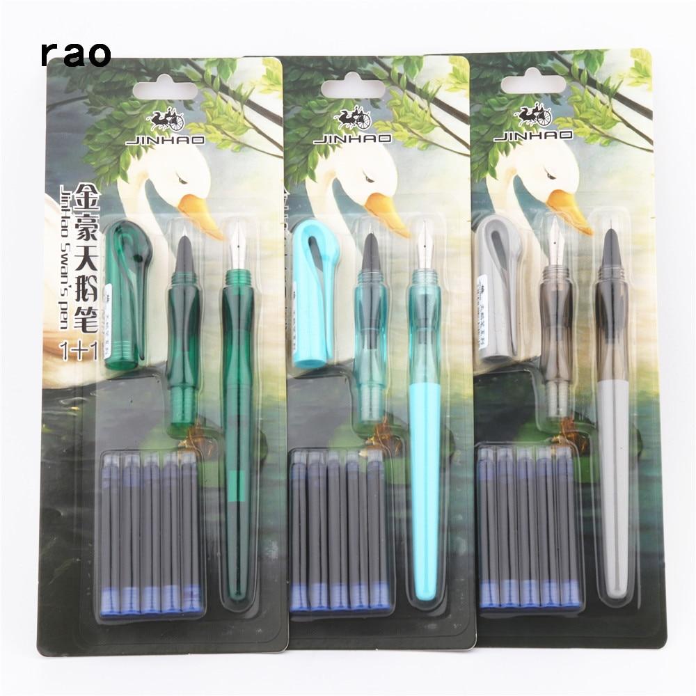 2pcs Nib 5pcs Blue Ink Jinhao Set Swan's Pen School Student Office Child Training  Fountain Pen New