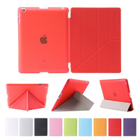 Origami Style Cover For IPad 2 3 4 Wake And Sleep Function Multiple Shapes Stand Ultra