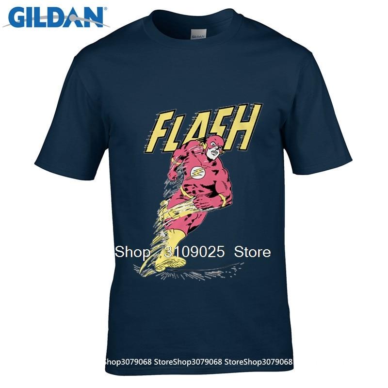 GILDAN t-shirts Personnalisés Nouveau Super-Héros le Flash t-shirt Hommes Femmes Cartoon Film Barry Allen Respirant O-cou À Manches Courtes
