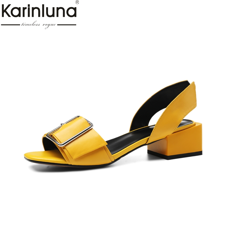 KARINLUNA 2019 dropship chunky heels natural cow genuine leather womens Shoes woman concise date party summer sandals shoesKARINLUNA 2019 dropship chunky heels natural cow genuine leather womens Shoes woman concise date party summer sandals shoes