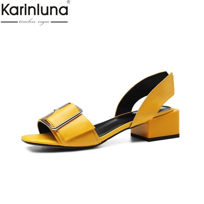 KARINLUNA 2019 livraison directe talons chunky vache naturelle en cuir véritable chaussures pour femmes femme concise date fête d'été sandales chaussures