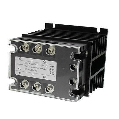 AC-AC 25A 90-280VAC/ 380VAC 3 Phase SSR Solid State Relay w Heat Sink new and original sam4080a gold single phase ac solid state relay 90 280vac 48 530vac 80a