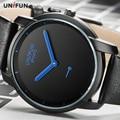 UNIFUN Novos Homens Ultrafinos Fashion Business Casual Masculino Relogio masculino Minimalista Contratada Estilo Simples Relógios de Quartzo Esportes