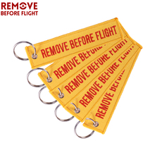 Remove Before Flight Fashion Keychain Orange Keyring Luggage Safety Tag Embroidery Motorcycle Key Chains for Aviation Gift 5PCS