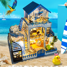 Cute Families House DIY Hut Blue Love Sea Handmade Creative Model Wood Dollhouse Toys for Girls Valentine Gifts