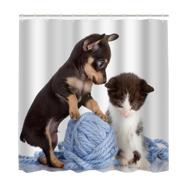 Waterproof Polyester Shower Curtains Mildewproof Animal Dog Print Bath Screen Bathroom Home Decoration