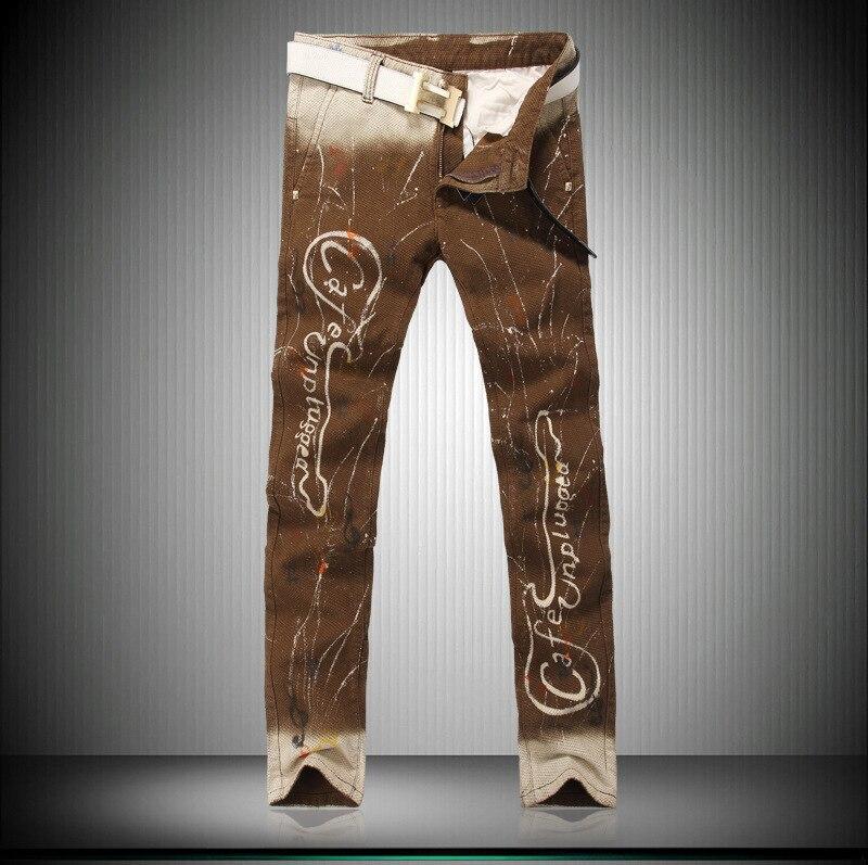 2016 Painted Cowboy Music Rock Men s Stage Slim Small Flower Pants Autumn Winter Explosion Models