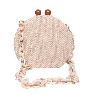 Image 2 - HOT Round Weave Handbag Banquet Clutch Woman Crossbody Bags For Women Circular Strip Shoulder Bags Resin Strap Wood Handle New