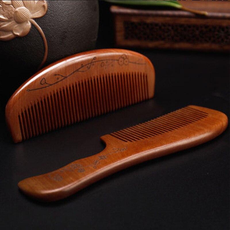TI65 di Legno Di Sandalo pettine lettering personalizzato Fine di legno di pesco pettine antistatico anti-perdita di capelli pettine
