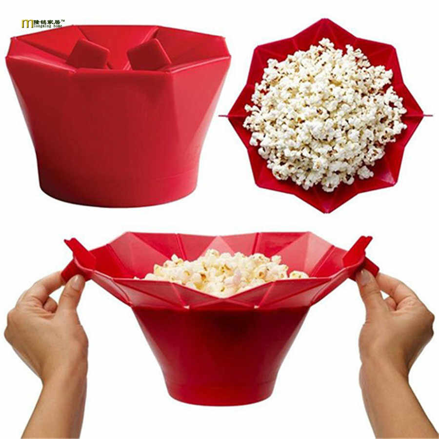 Angmile Taz/ón de palomitas de ma/íz de silicona de grado alimenticio Taz/ón de arroz inflado de microondas plegable