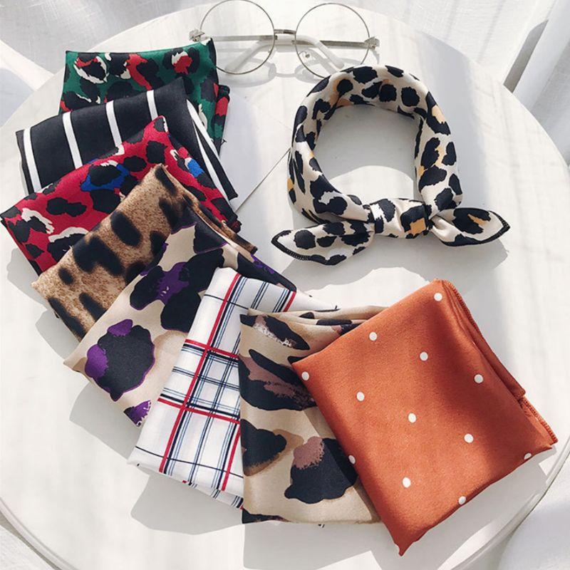 50x50cm Women Retro Square Neck Headscarf Colorful Leopard Polka Dot Printed Bag Scarf Faux Silk Bandana Handkerchief Headband