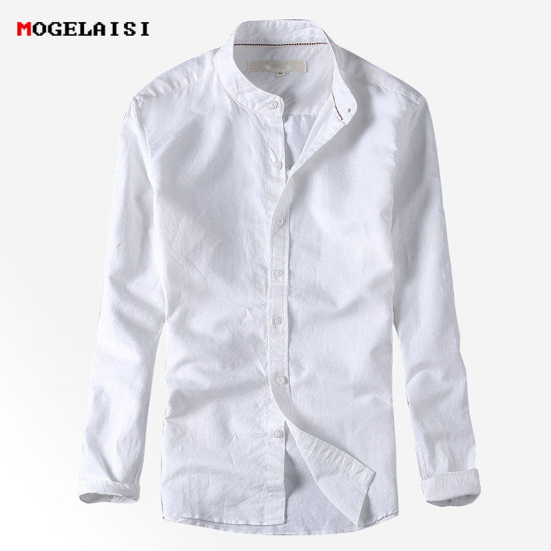New Linen Shirts Men Casual Solid Slim Long Sleeve Shirts Man Breathable White Shirt Chemise Homme Camisa Masculina Size S-XXXL