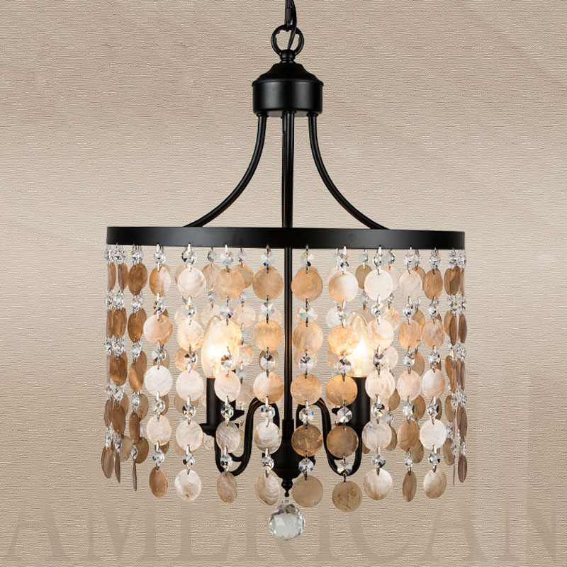 American Country Style Crystal Pendant Lamp Shell Vintage Lights Fixture for Living Room Bedroom Restaurant Iron Indoor Lamp