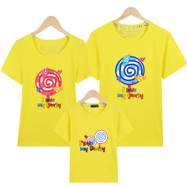 98702de8 Lollipop Family Look T Shirts Summer Family Matching Clothes Father Mother  Kids Outfits Cotton Tees Free Drop Shipping