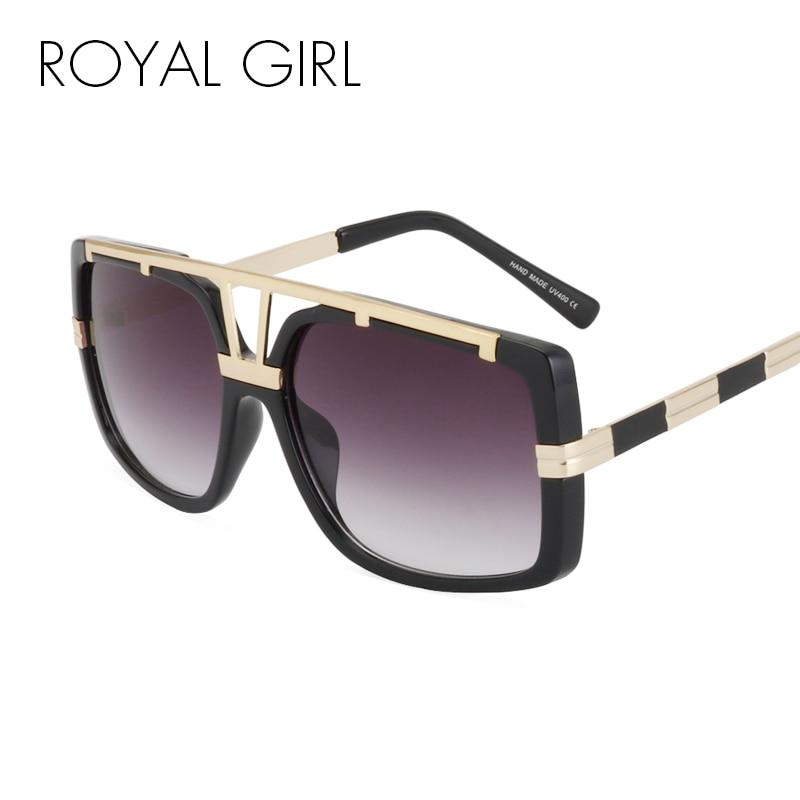 d5c57038f2 Royal Girl moda metal cuadrado Gafas de sol hombres lujo marca vintage  mujeres diseñador Sol Gafas Oro Negro ss110