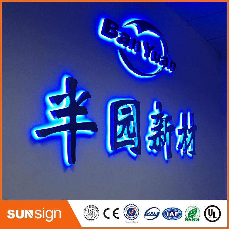 Заказ Открытый водонепроницаемый 3D подсветкой нержавеющая сталь знаков письма канала для имени магазина, вывески, логотип компании