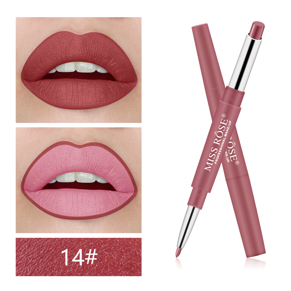 MISS ROSE 2In1 Matte Lipstick & Liner Pencils Lasting Waterproof Pigments Sexy Red Nude Lip Tint Lipgloss Korean Makeup TSLM2