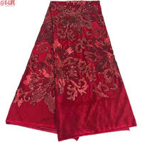 African Lace High Quality Soft Velvet Fabric With Color Sequins Embroidery Nigerian Velvet Lace Fabric F4