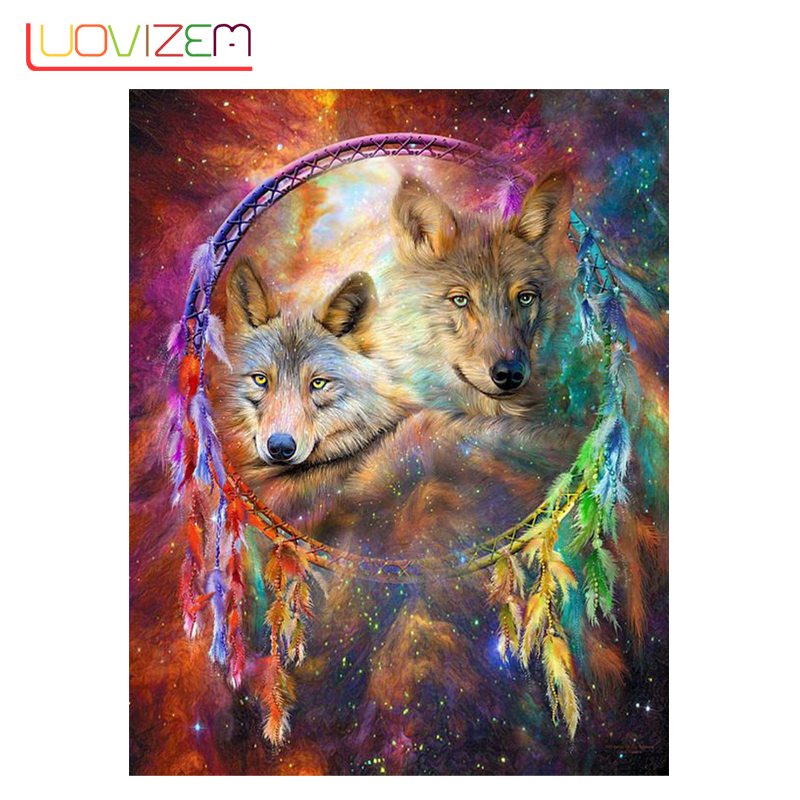 5D Diy Diamond Painted Animal Full Cartoon  Embroidery Mosaic Cross Stitch Set LUOVIZEM L317