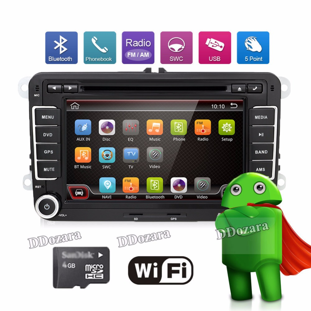 3G Quad Core 2 din Android 6.0 Car DVD player for VW Volkswagen GOLF 5 Golf 6 POLO PASSAT SKODA CC JETTA TIGUAN TOURAN GPS цена