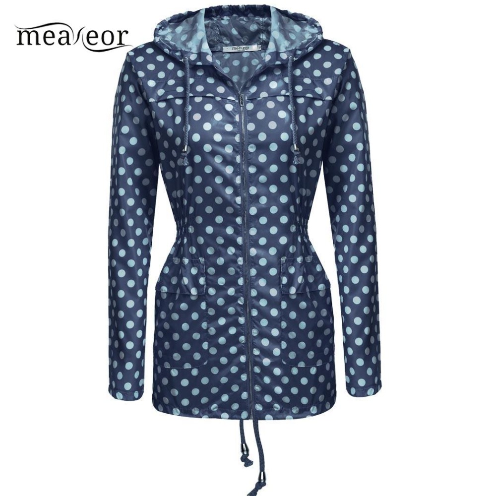 Meaneor Women   Trench   Coat Casual Raincoat Hooded Long Sleeve Solid Autumn Windbreaker Waterproof Loose Dot New   Trench   Coats Tops