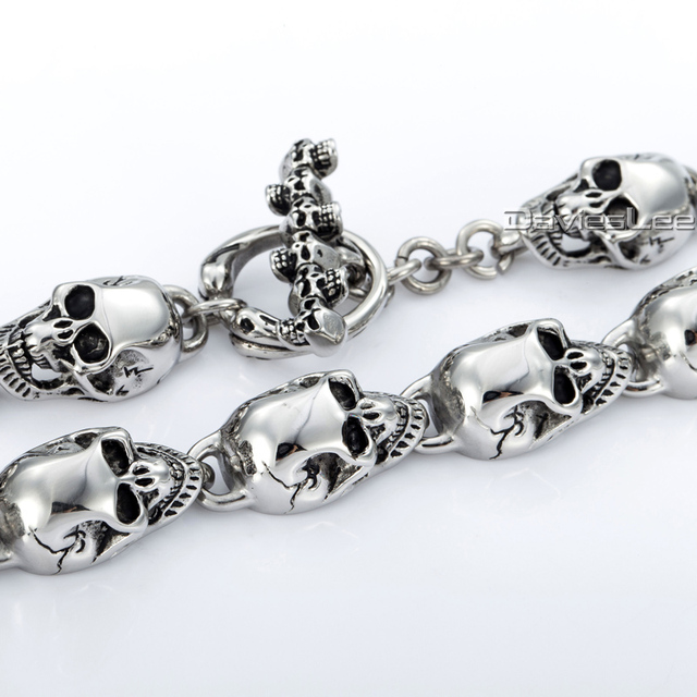 13mm Boys Mens Chain Skulls Link T/O Toggle Clasp 316L Stainless Steel Silver Tone Necklace Wholesale Personalized Jewelry LHN36