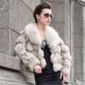 Elegant noble ladies real fur short coat , luxury 100% natural fox fur women jackets with fox fur collar wholesale