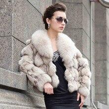 Elegant noble ladies real fur short coat , luxury 100% natural fox fur women jackets with fox fur collar wholesale