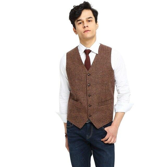 2018 Airtailors Brand Mens Vest Wedding Brown Wool Herringbone Tweed Vest  Slim Vest Suit Men Custom Made Sleeveless Suit Jacket 176bd87cb320