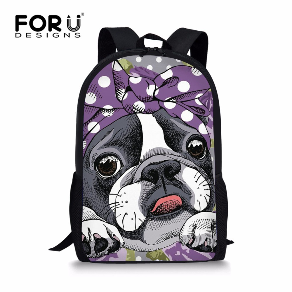 FORUDESIGNS Cute Princess Girls Boston Terrier School Bag Kawaii Children Kids Bookbags Primary Children Girls Schoolbags ...