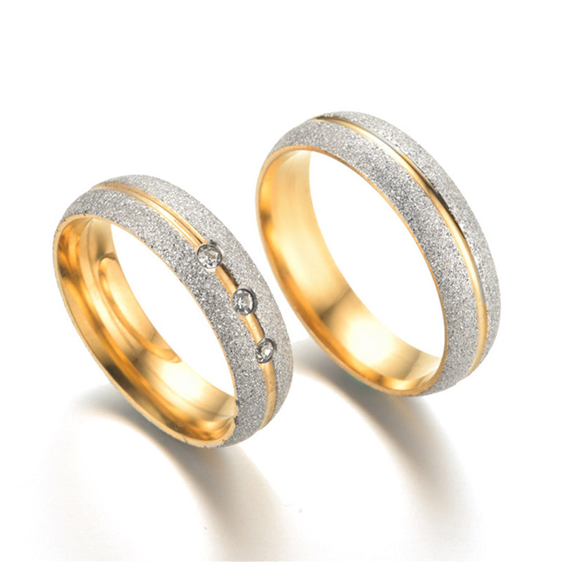 Couple Engagement Ring For Women Men Sand Blasted gold-color Stainless Steel CZ Wedding  ...