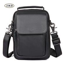 JMD New arrivals Genuine Leather Fashion Design Black Color Men Shoulder Bag Handbag Crossbody Bag Messenger Portable Bag 1032A casual men s messenger bag with black color and cover design