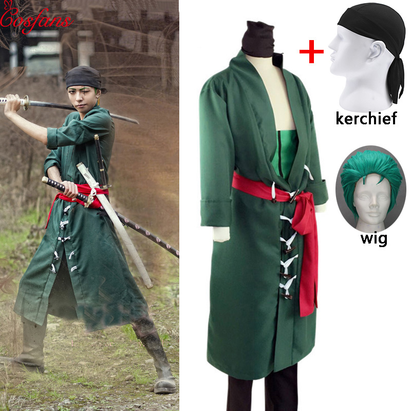 5PCS Japanese Anime One Piece Roronoa Zoro Cosplay Costume Comic Halloween Cosplay Robe Full Set Wig And Kerchief Free Shipping